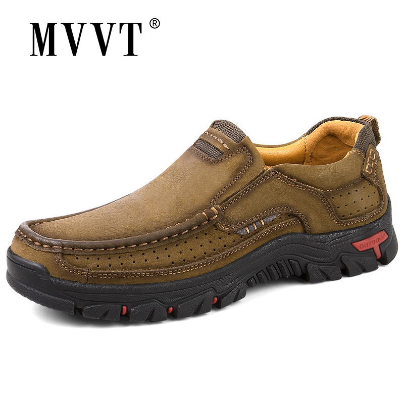 MVVT 100% Genuine Leather Shoes Men Cow Leather Casual Shoes Male Outdoor High Quality Men Flats 2