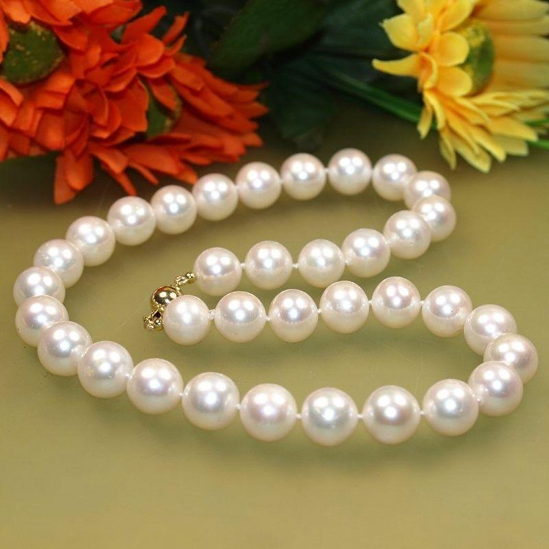 Natural Charming solid gold 9-10mm White Freshwater Cultured Pearl Necklace 18AAAA 10X10 jewerly free shipping