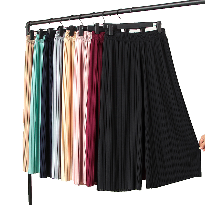 2018 spring and summer women brief solid color pleated chiffon ankle length trousers loose wide leg pants female 165