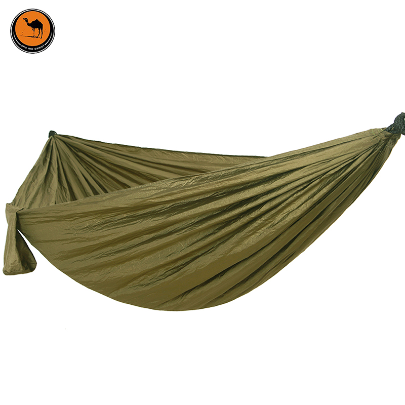 Camping Hammock, Portable Parachute Nylon Fabric Travel Ultralight Camping Double Wide Outdoor Travel Solid Color Green