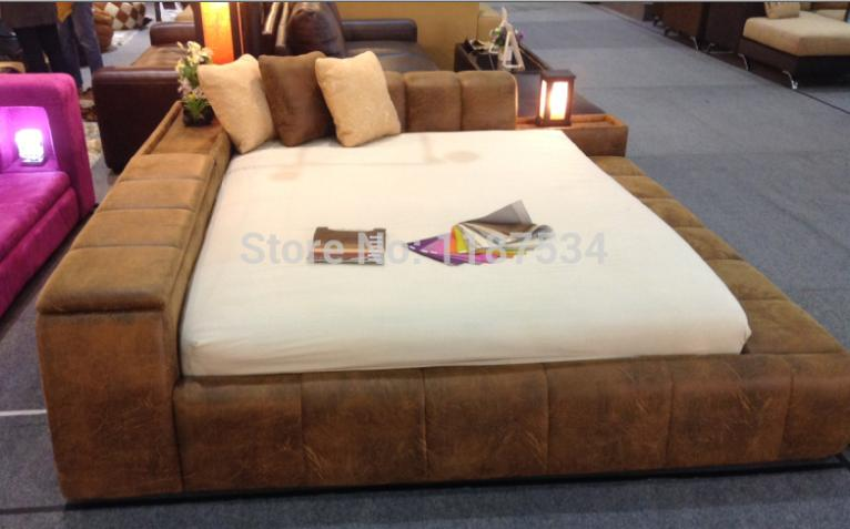 Modern Bedroom Furniture Luxury Bed Frame King Size Fabric Double Soft E610
