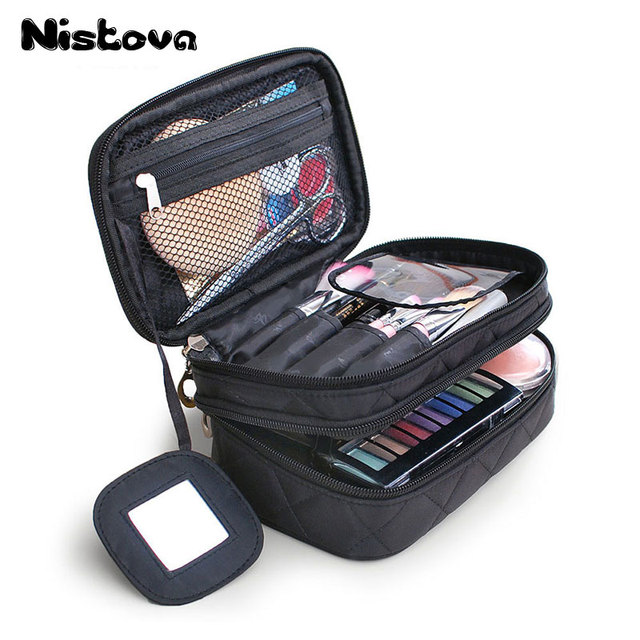 Double Layer Nylon Cosmetic Bags Makeup Bag Women Vanity Travel Organizer Professional Storage Brush Necessaries Make Up Case