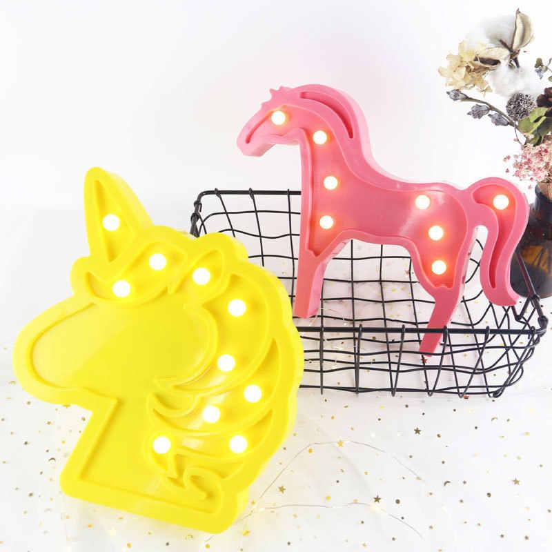 Adorável nuvem cavalo icecream led 3d luz da noite bonito crianças presente brinquedo do bebê crianças quarto decoração lâmpada iluminação interior