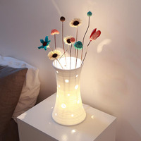 Ceramic White Hollow Flower Table Lamps Bedroom Sitting Room Study Individual Bedroom Beside Study Desk Lamps