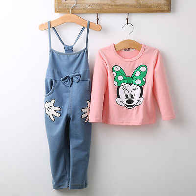 Bayi Perempuan Lengan Panjang T-Kemeja Bib Kartun Minnie 2 Pcs Pakaian Set 1-5Y