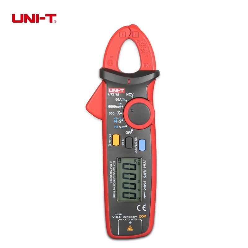 все цены на UNI-T UT211B True RMS 60A Mini Digital Clamp Meter DC Current Voltage Multimeter LCD Display VFC NCV Tester онлайн