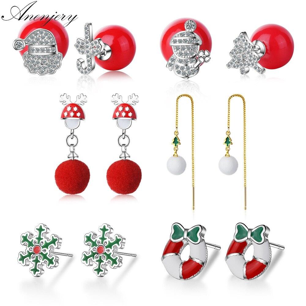 Anenjery Hot Fashion Silver Color Christmas Earrings Bells Snowflakes Elk Christmas Tree Fluff Ball Zircon Earrings Stud Earrings Aliexpress