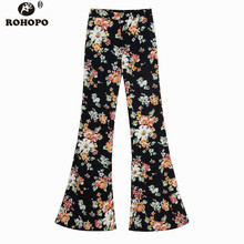 ROHOPO Women Autumn Floral Chiffon Flared Pant High Waist Chic Holiday Vintage Full Length Trousers Printed #OYK9743