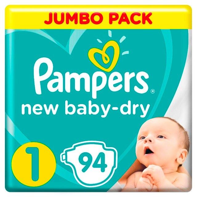 Подгузники Pampers New Baby-Dry 2–5 кг, размер 1, 94 шт.