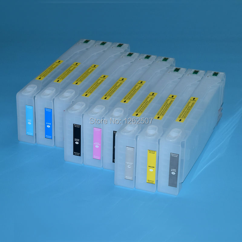 700ml T6361 T6371 Bulk Ciss Refill ink cartridge For Epson PRO 7900 9900 7910 9910 wide format printer machine + 2pcs resetters refillable ink cartridge with chip for epson stylus pro 9900 large format printer ink cartridge for epson 9900