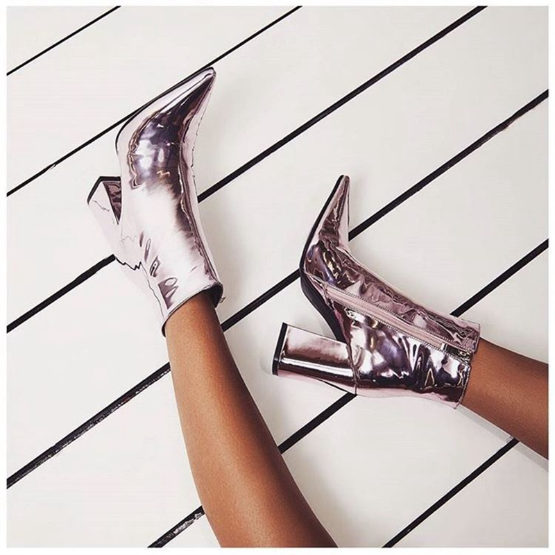 2018 New Fashion Mirror leather Party Pumps Sexy Pointed Toe ankle Boots Women Silver chunky High Heels boots INS hot High Heels in Ankle Boots from Shoes