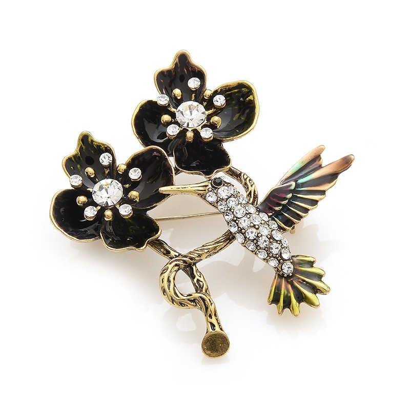 Wuli Bayi Vintage Emas Hitam Bunga Rhinestone Burung Bros Alloy Hewan Enamel Bros Pin untuk Wanita dan Pria Natal hadiah