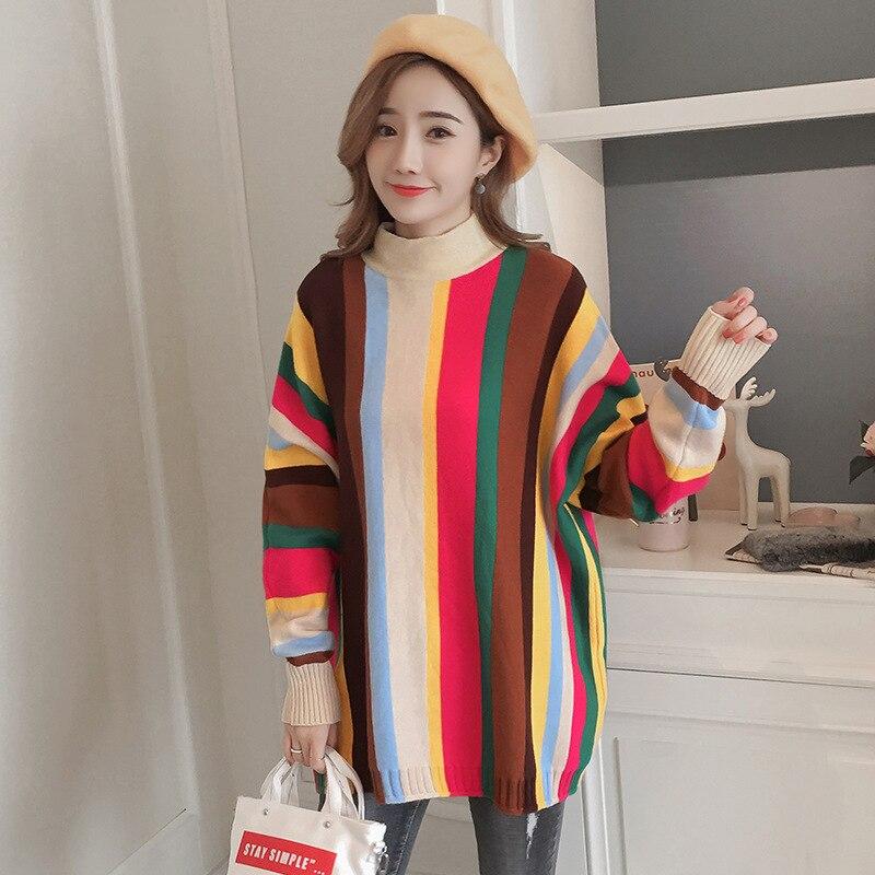 Mode Arc-En-Ciel Grossesse Pulls Hiver Couleur Bloc hauts pullover pour Femmes Enceintes Vêtements Hiver Lâche Pull Grossesse