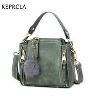REPRCLA Brand Nubuck Leather Shoulder Bag Fashion Hairball Women Messenger Bags Designer Handbags Small Crossbody Women