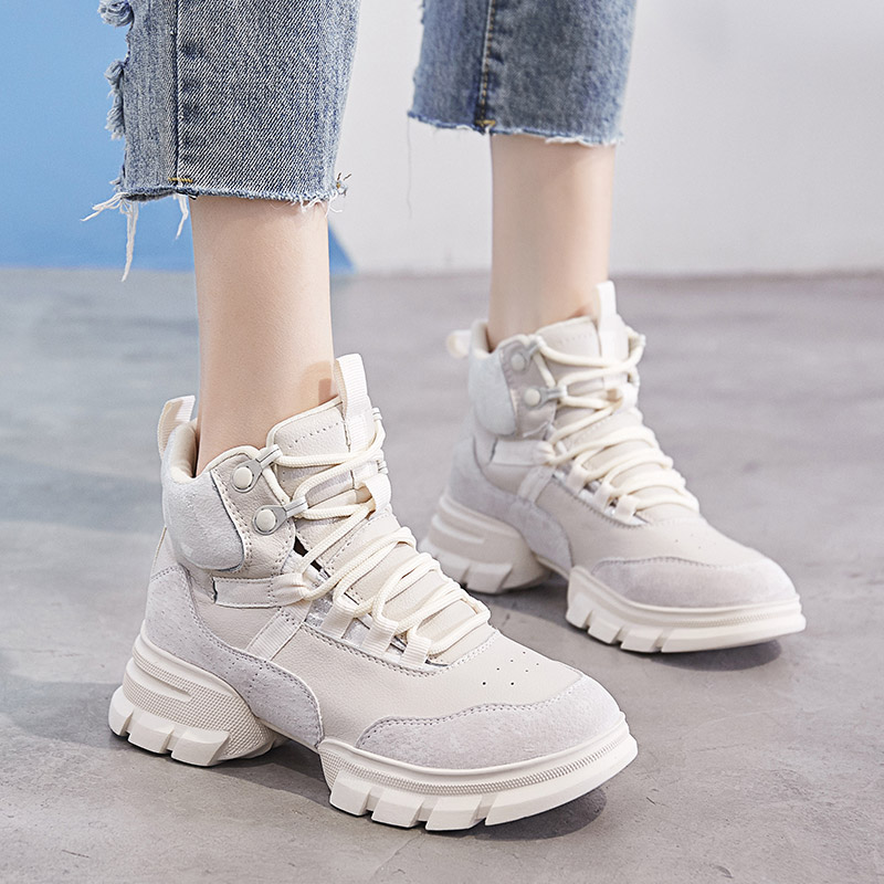 Genuine Leather Women Sneakers Fashion Women Casual Shoes Lady Martin Boots Female high top Flat platform