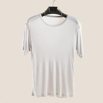 Мужская Летняя шелковая рубашка с круглым вырезом, однотонный топ из 80% шелка, Мужская Весенняя шелковая рубашка оверсайз с коротким рукаво