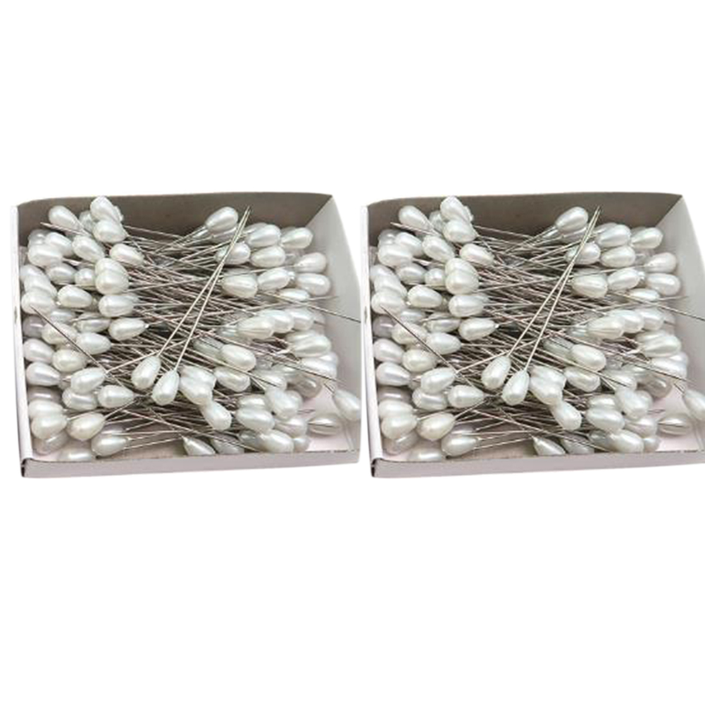 144Pcs/Box Pearl Plug 28mm Craft Positioning Needle Stainless Steel Head Pins DIY Teardrop-shaped Sewing With Box Cross Stitch(China)