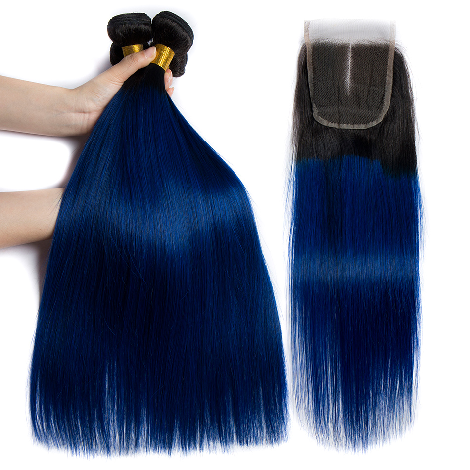 ALIBELE Ombre Brazilian Hair Weave Bundles with Closure 1B Blue Straight Hair 3 4 Bundle With