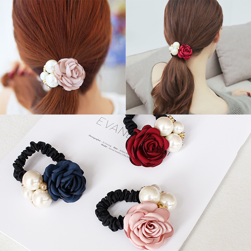 M MISM Girls Flower Elastic Hair Rubber Bands High Quality Big Pearl Beads Scrunchy Sweet Rose Gum for Hair Rope Tie Accessories