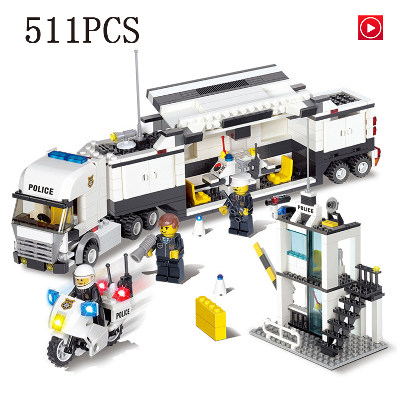 city Lepins Police command car Figures Police office Building Blocks Bricks Toys Model kits gifts for children