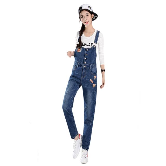 2017 Coreano Moda de Nova Washed Patches Soltos Rompers Mulheres Jumpsuit Bonito Meninas Casuais Denim Macacões Jeans Macacões Longo