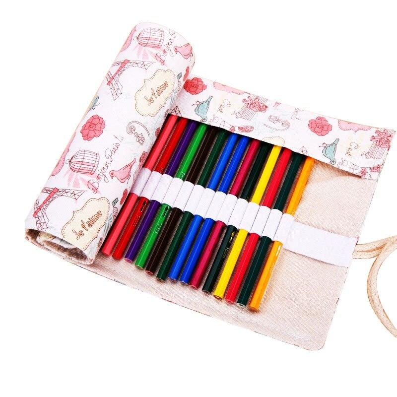Kawaii Cute Eiffel Tower Roll School Pencil Case Canvas 36/48/72 Holes Large Penal Pencilcase for Girls Boys Pen Bag Stationery