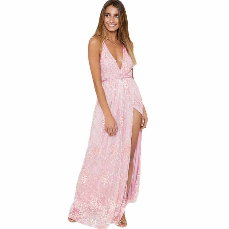 YSMARKET Apricot Black Pink Daring Open Back Glittering Long Party Dress  Elegant Summer Deep V Neck 31a9fda47e6a