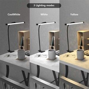 Image 3 - โคมไฟตั้งโต๊ะLEDแบบยืดหยุ่นGooseneck Clampแขนร่างตาราง10ระดับความสว่าง,โหมด3สี,5Wเปียโนหัวจัดการประชุม