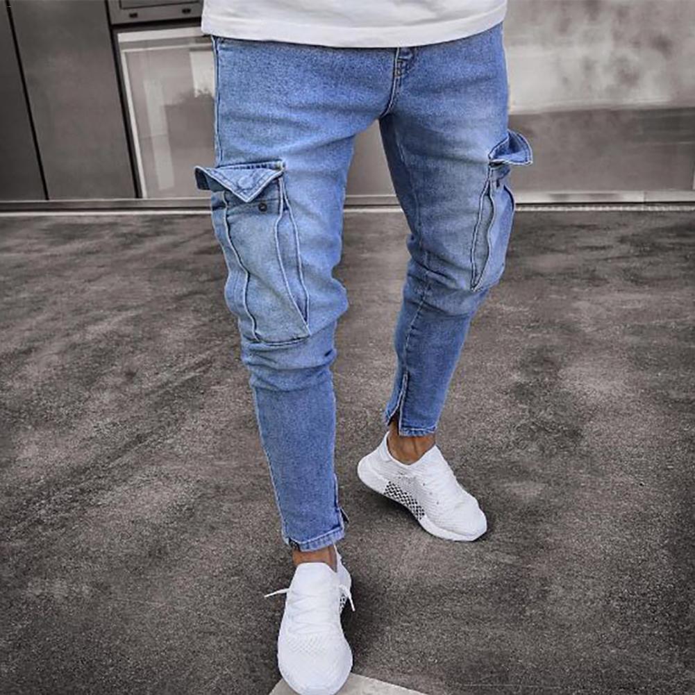 546d77c5a232 Männer der Jeans Trend Knie Loch Zipper Füße Hosen 2018 Hallo-Straße Männer  Knie Eversion