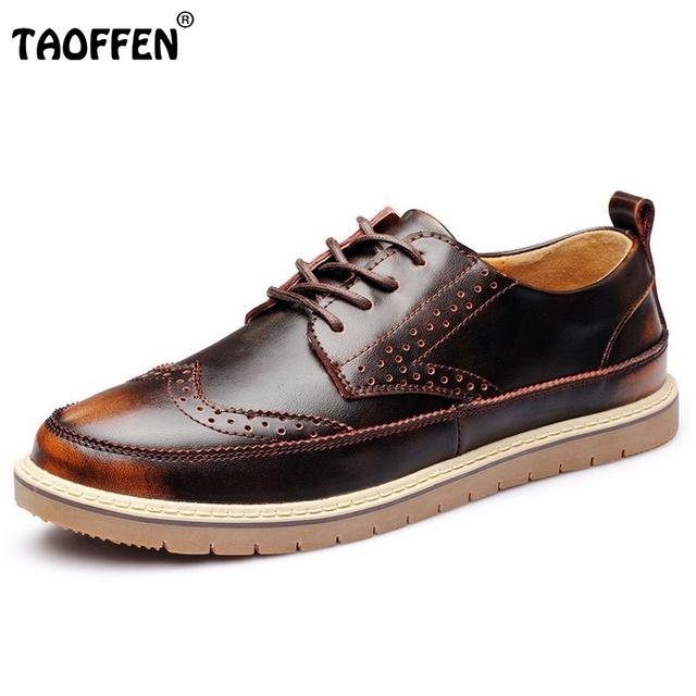 Oxfords homens Sapatos Estilo Britânico Apartamentos Sapato Lace-Up Boi Esculpido sapatos de Couro Genuíno Dos Homens de Negócios Informais Tamanho Hombre 38-44 M0232