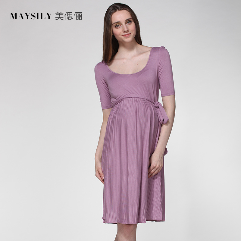 0edf3044139b8 Summer New Fashion Maternity Dresses Big Size Round Neck Lace Short Sleeved  Dress Clothes For Pregnant Women-in Dresses from Mother & Kids