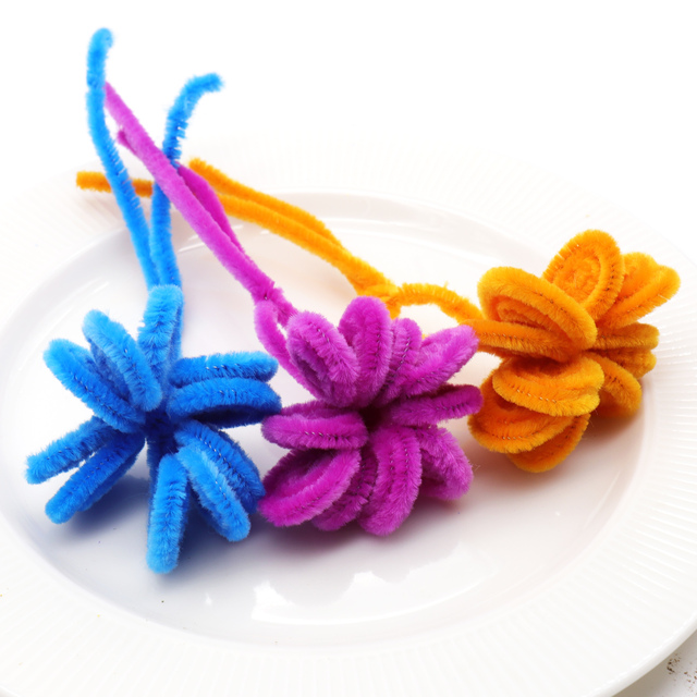 Us 1 94 30 Off 100pcs Set Chenille Sticks Diy Craft Toys Creative Fun Games Multicolor Wool Root Twisted Bar Hand Made Party Decorations In Diy