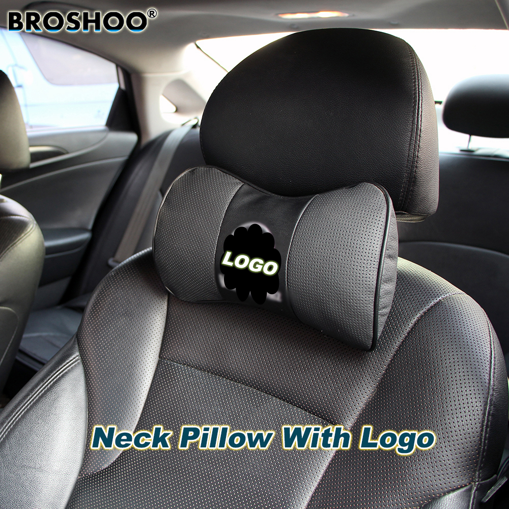 BROSHOO Car Neck Pillow Auto Seat Headrest Genuine Leather Pillows With Car Brand Logo 2pcs Lot Car-Styling Accessories
