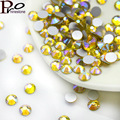 More size Citrine AB 3D Nail Rhinestones Flatback Glass Strass Non HotFix Rhinestone For DIY Nails,1440pcs/bag,SS3-SS20
