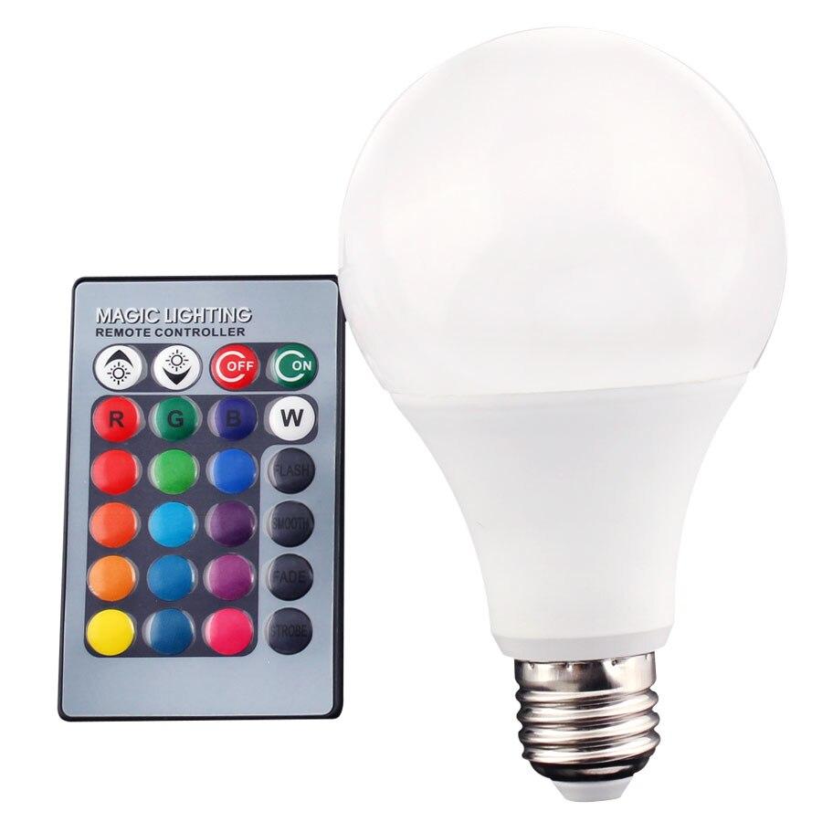LED 12V E27 RGB  Light Lamp Leds 3W 5W 10W 15W RGBW Led Bulb Light E27 15w Lamp Smart Home With 24Key Remote Control