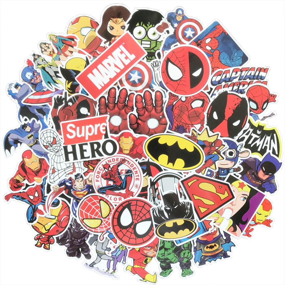 AQK 50pcs Mixed Super Hero Cartoon Toy Stickers Graffiti Decals For Kids DIY Skateboard Luggage Laptop Guitar Fridge Car StickerAQK 50pcs Mixed Super Hero Cartoon Toy Stickers Graffiti Decals For Kids DIY Skateboard Luggage Laptop Guitar Fridge Car Sticker