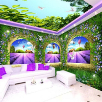 Large Custom Murals Romantic Lavender Manor House Wall Papel De Parede Para Sala Estar Papier Peint