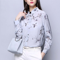 Office Lady Real Silk Shirt Women Spring Summer Long Sleeves Floral Blouse Elegant Female Turn Down Collar Single Breasted Tops