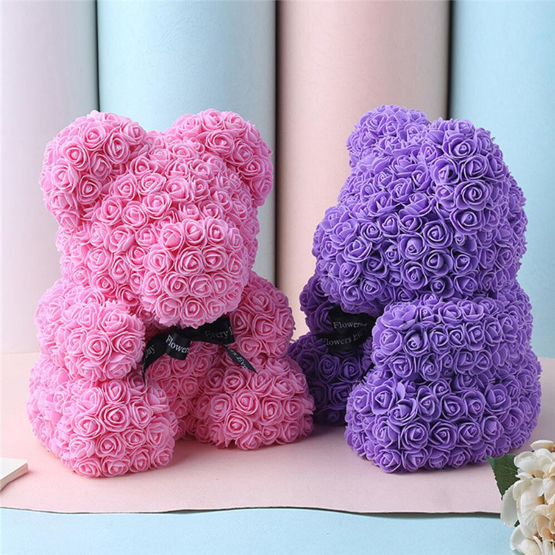 25\40 cm Red Teddy Bear Rose Flower Artificial Girlfriend Gifts for Women Valentine's Day Gift Plush Bear\Rabbit