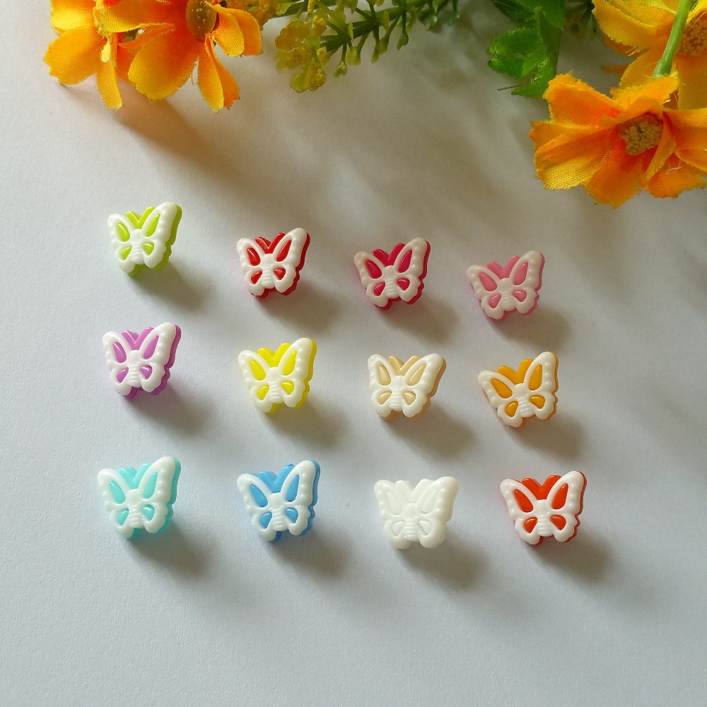 butterfly style Sewing Accessories Mixed Cabochons Scrapbooking 150Pcs Cartoon plastic Sewing Buttons 12x13mm