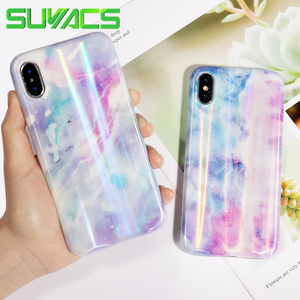 SUYACS Glossy Phone Case For iPhone 6 6S 7 8 Plus X XS MAX XR Beautiful Holographic Laser Marble Soft IMD Phone Cases Shells