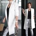 2017 New spring Autumn fashion Leisure white black long blazer women Blazers blazer feminino veste femme blazer L021