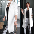 2017 Nova primavera Outono de Lazer da moda branco preto longo blazer mulheres Blazers blazer blazer feminino veste femme L021