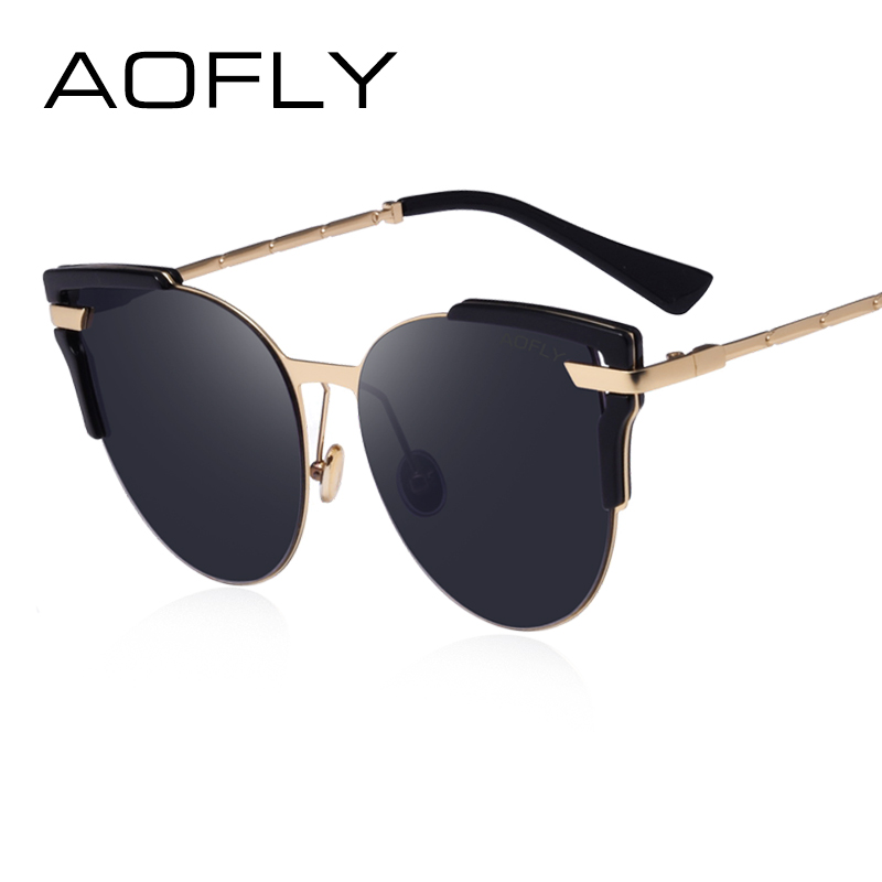63760773820 AOFLY Sunglasses Cat Eye Ladies Sunglasses 2017 Luxury Classic Women  Fashion Shades Brand Designer Alloy Legs Points AF7964-in Sunglasses from  Women s ...