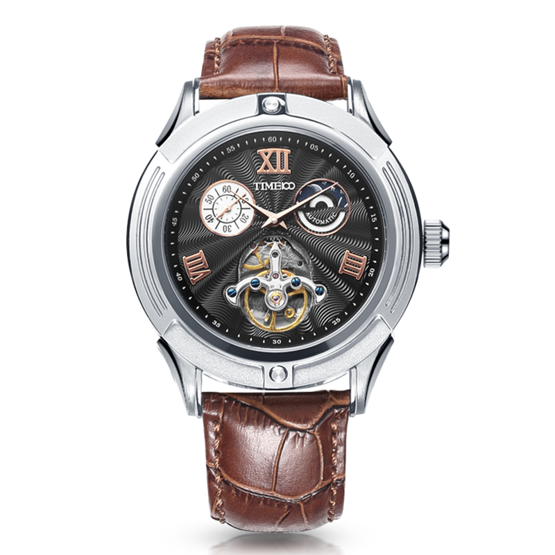 New Time100 Men's Mechanical Automatic Self-Wind Sun Phase Taichi Space Skeleton Watches Black Brown Leather Wrist Watch For Men free shipping time100 top brand sun moon phase taichi pattern genuine leather strap skeleton automatic mechanical watches clock