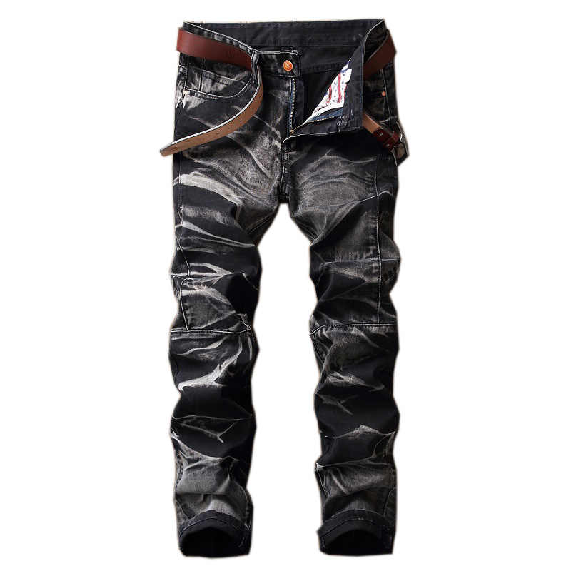 autumn winter foreign black casual jeans men wash straight retro patchwork cowboy denim trousers high quality Printed Jeans male