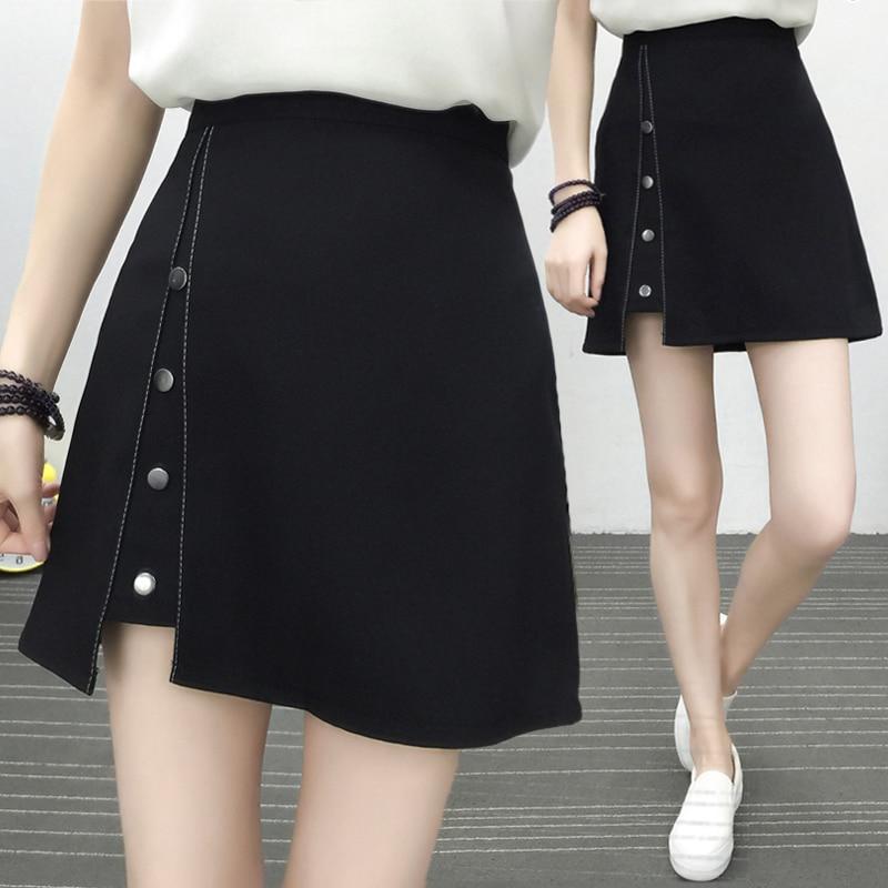 2018 Summer black skirt a word high waist thin anti-light irregular   shorts   skirt