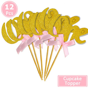 Image 5 - 12pcs First Happy Birthday Glitter Paper 1 Cupcake Toppers My 1st Party Decorations Kids One Year Baby Boy Girl Unicorn Supplies