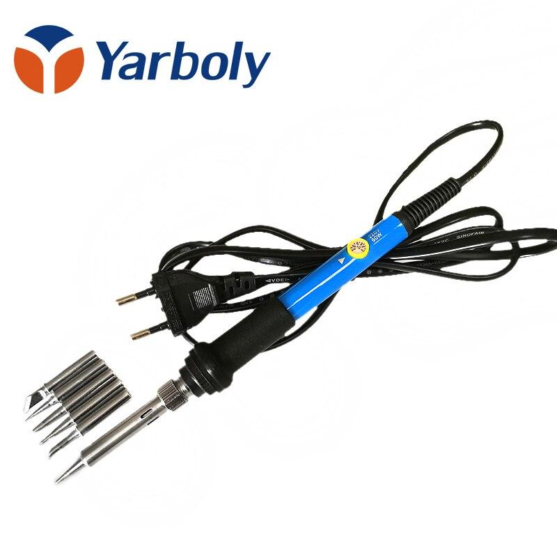 EU plug 60w 220v Adjustable Temperature Soldering Iron Kit+5 Tips+Desoldering Pump+Soldering Iron Stand +Tweezers+ Solder Wire