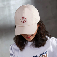 купить 100% Cotton Smile Embroidery Women Baseball Cap Outdoor Summer Dad Hat Men Snapback Baseball Hats High Quality дешево